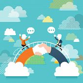 Flat Design Illustration Concept Of Communication Bridge