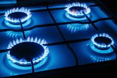 picture of flames  - Blue flames of gas burning from a kitchen gas stove - JPG