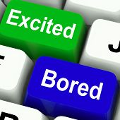 Excited Bored Keys Show Exciting And Boring Websites