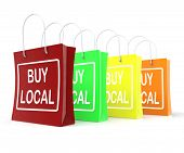 Buy Local Shopping Bags Shows Buying Nearby Trade