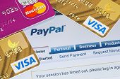 Online Shopping Paid Via Paypal Payments Using Plastic Cards Visa And Mastercard