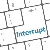 picture of interrupter  - computer keyboard with word interrupt - JPG