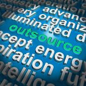 Outsource Word Cloud Shows Sub Contract And Freelance