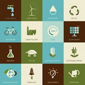 foto of environment-friendly  - Set of flat designed ecology icons for web and mobile - JPG
