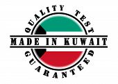 stock photo of kuwait  - Quality test guaranteed stamp with a national flag inside Kuwait - JPG