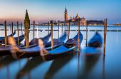 Gondolas, Grand Canal And San Giorgio Maggiore Church At Dawn, Venice, Italy