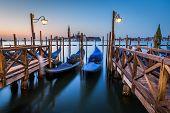 Gondolas, Grand Canal And San Giorgio Maggiore Church At Dawn, Venice, Italy