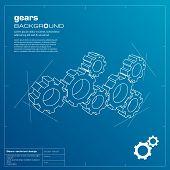 Gears blueprint background. Vector.