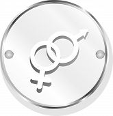 Round Button With Male Female Symbol Isolated On White