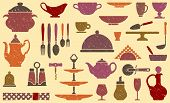 Background with kitchen ware