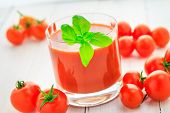 Fresh Tomato Juice Wooden Background