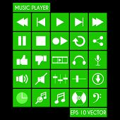 Music Player Flat Icon Set