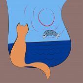 Cat watches for a fish on sunrise at sea. Vector illustration