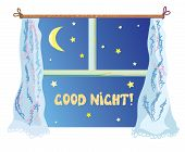 Good nignt illustration with cute window stars