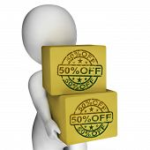 Fifty Percent Off Boxes Show 50 Reduced Price