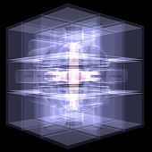 Several cubes connected by one core. X-ray