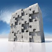 Blank big jigsaw puzzle made of concrete parts
