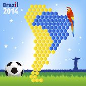 Brazil Soccer Concept - Red Macaw And Map