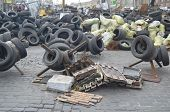 KIEV, UKRAINE - APR 7, 2014: Downtown of Kiev.Barricades.Riot in Kiev and Western Ukraine.April 7, 2
