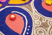 picture of kolam  - Colorful Indian kolam during Deepavali celebration on floor - JPG