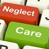 Neglect Care Keys Shows Neglecting Or Caring
