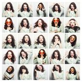 image of rude  - Collage of woman different facial expressions - JPG