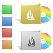 Yacht. Box with compact disc. Raster illustration.