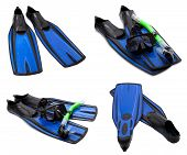 Set Of Blue Flippers, Mask, Snorkel For Diving With Water Drops