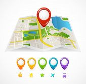 image of gps  - Vector city map with GPS Icons illustration - JPG