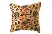 Golden Silk Pillow With Black Ornaments