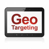 Finance concept: Geo Targeting on tablet pc computer