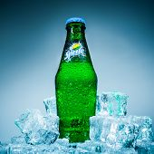 MOSCOW, RUSSIA-APRIL 4, 2014: Bottle of Coca Cola company soft drink Sprite on ice. It was introduce