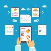 vector illustration of mobile optimization and analytics