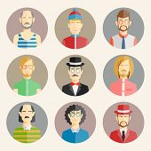Set of nine male avatars