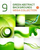 Mega set of green abstract backgrounds | summer or spring seasonal waves, swirls, textures, template