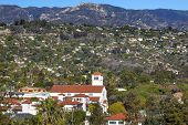 Methodist Church Houses Mountain Santa Barbara Alifornia