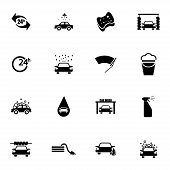 Vector black  car wash  icons set
