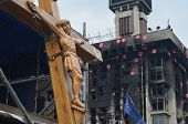 KIEV, UKRAINE - APR 7, 2014: Second crucifixion of Jesus.Burned downtown of Kiev.Rioters camp. Riot