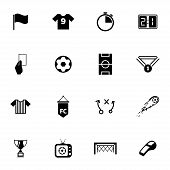 foto of offside  - Vector black  soccer  icons set on white background - JPG