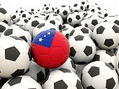 pic of samoa  - Football with flag of samoa in front of regular balls - JPG