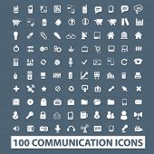 100 communication icons set. vector