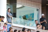 CARSON, CA - APRIL 6: David Beckham (L) and his kids (R) watch the MLS game between the Los Angeles