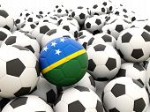 Football With Flag Of Solomon Islands