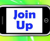 Join Up On Phone Shows Joining Membership Register