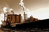 Global Warming image of vintage mill in america [noise/ film grain added] for impact