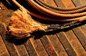 Closeup Image of Cowboy rope on a table