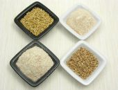 Bowls Of Chinaware With Oat, Porridge And Meal