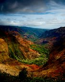 beautiful Vertical image of the lush Waimea Canyon, Kauai