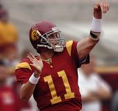 LOS ANGELES â?? OCT 10: Heisman trophy winning quarterback Matt Leinhart gestures during the game between Usc vs Arizona at the Los Angeles Coliseum on October 10, 2004 in Los Angeles.