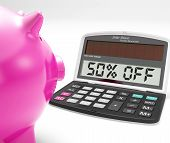 Fifty Percent Off Calculator Means Half-price Promotion